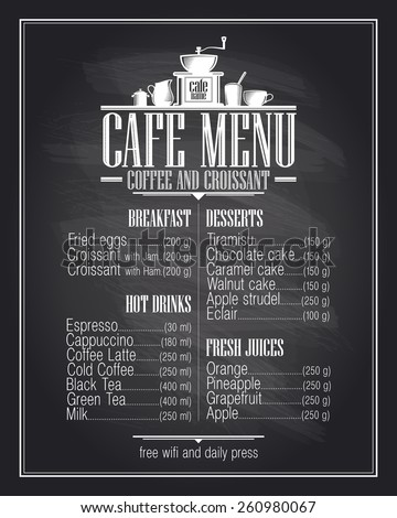 Chalkboard cafe menu list design with dishes name, coffee and croissant, retro style
