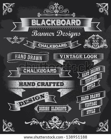 Chalkboard calligraphy banners. Vintage style blackboard design - stock vector