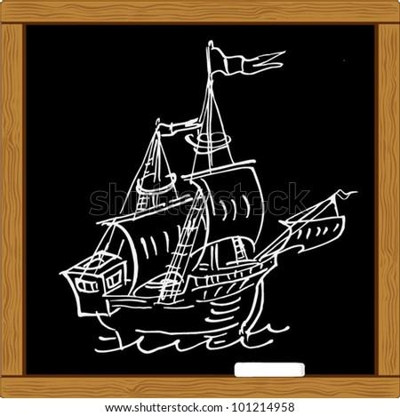 chalkboard chalk sketch of regatta sail sailship . vector - stock vector