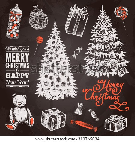 Chalkboard chrismas set with hand drawn pine tree sweets and gift boxes isolated vector illustration - stock vector