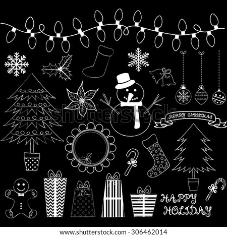 Chalkboard Christmas Doodles Collections. - stock vector