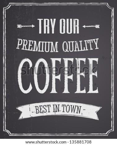 Chalkboard design coffee poster. - stock vector
