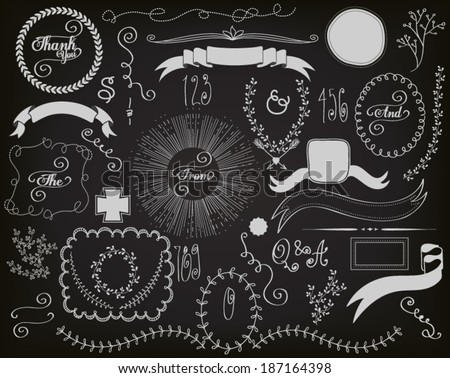 Chalkboard Design Elements - Blackboard design elements and decoration, including banners, ribbons, frames, branches, swirls, curls and sunburst, hand drawn  - stock vector