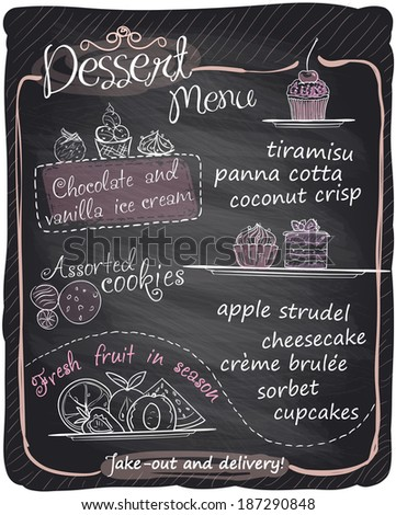Chalkboard dessert menu. Eps10 - stock vector