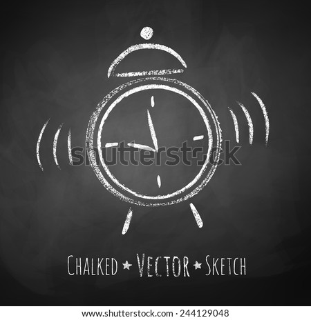 Chalkboard drawing of alarm clock. Vector illustration. Isolated. - stock vector