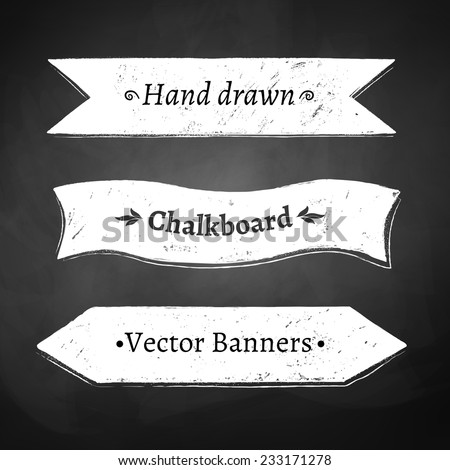 Chalkboard drawing of ribbon banners. Vector illustration. - stock vector