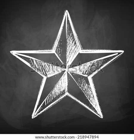 Chalkboard drawing of star. Vector illustration. Isolated. - stock vector