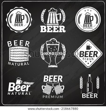 Chalkboard emblems of fresh natural cold premium beer isolated vector illustration - stock vector