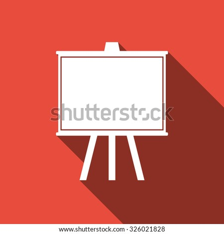 Chalkboard flat icon with long shadow. Vector Illustration