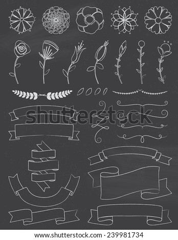 Chalkboard Flowers and Ribbons Design Elements - stock vector