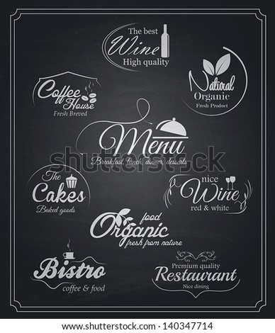 Chalkboard food and drinks labels. Vector - stock vector