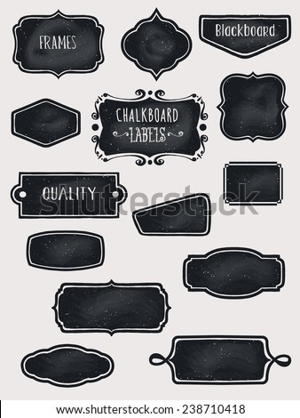 Chalkboard Frames and Labels - Set of hand-drawn blackboard frames and labels in black - stock vector