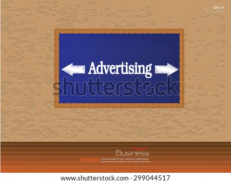 chalkboard in wooden frame with advertising word on brick wall with wooden floor.brick wall.vector illustration