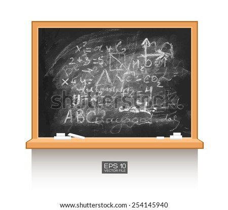 Chalkboard isolated on white wall with mathematical formula. Vector illustration. Texture background, wood, wooden frame. Piece of chalk - stock vector