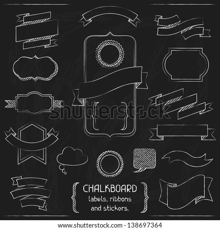 Chalkboard labels, ribbons and stickers. - stock vector