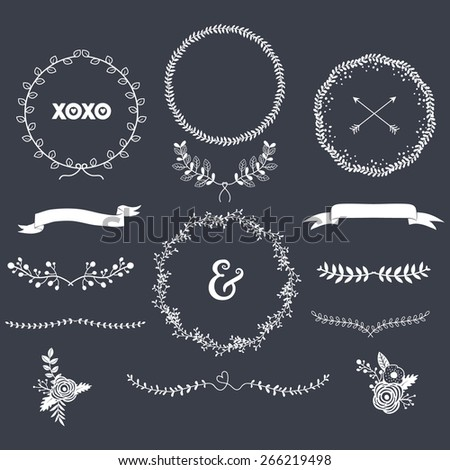 Chalkboard Laurels Set - stock vector