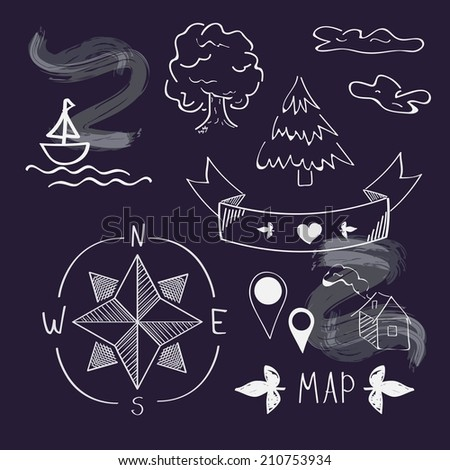 chalkboard map icons vector set - stock vector