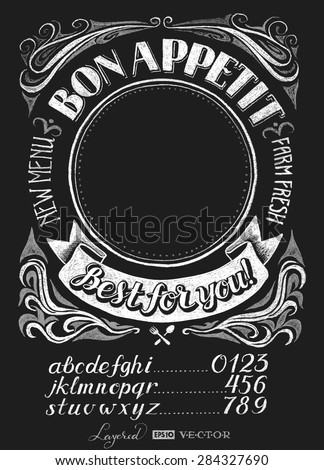 Chalkboard menu. Eps10. Transparency used. Global colors. Gradients free. Each elements are grouped separately - stock vector