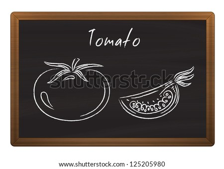 Chalkboard menu with tomato doodles - stock vector