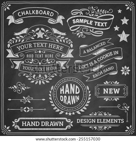 Chalkboard ornaments and ribbons. Vector format. - stock vector