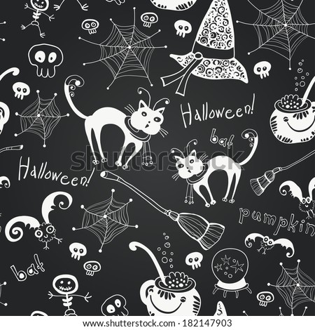 Chalkboard seamless floral pattern. Halloween hand drawing doodles on black chalkboard