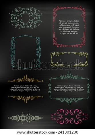 chalkboard set of calligraphic design elements - stock vector