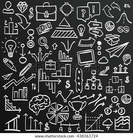 Chalkboard sketch icons set business, collection arrow scribble, Vector illustration - stock vector