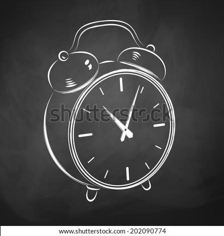 Chalkboard sketch of alarm clock. of Vector illustration. - stock vector