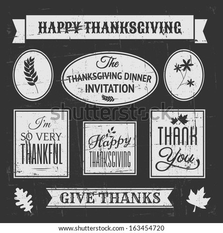 Chalkboard style design elements for Thanksgiving Day. - stock vector