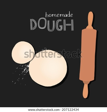Chalkboard style dough with rolling pin. Vector - stock vector