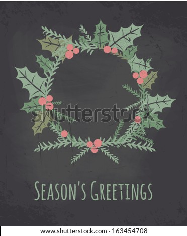 Chalkboard style greeting card for Christmas. - stock vector