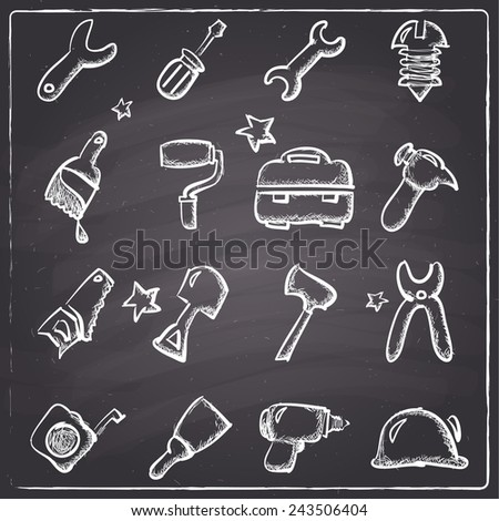 Chalkboard style tools icons - stock vector