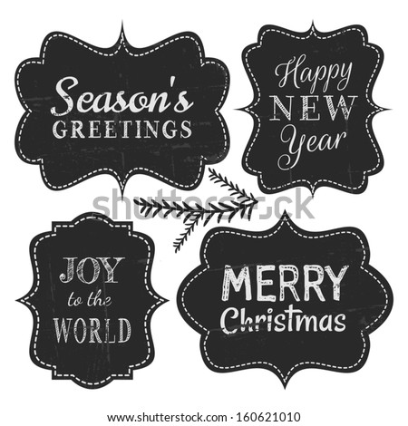 Chalkboard style vintage labels for Christmas and New Year, isolated on white background. - stock vector