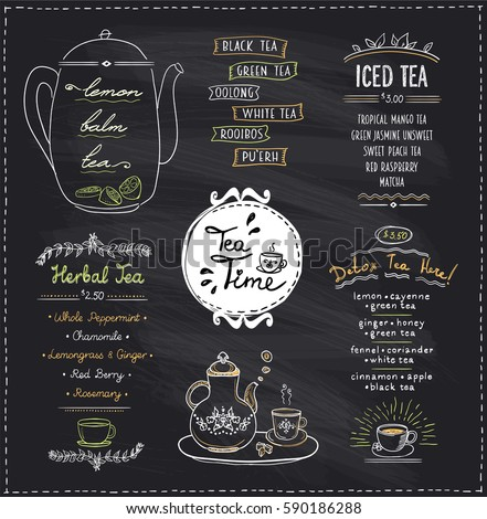 Chalk Menu List Blackboard Design Cafe Stock Vector