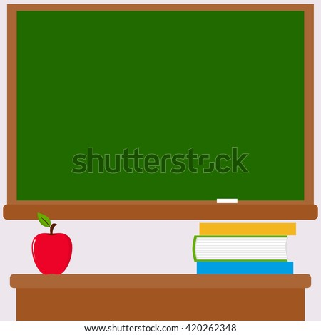 Chalkboard, teacher desk, books and apple. Vector Illustration of a green board and a teacher's desk with books and an apple in the classroom. - stock vector