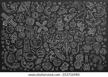 Chalkboard vector hand drawn doodles cartoon set of Space objects and symbols - stock vector