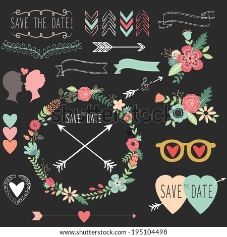 Chalkboard Vintage Wedding elements- Illustration - stock vector