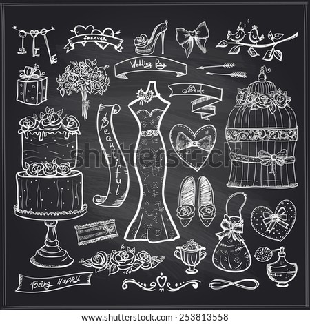 Chalkboard wedding bridal elements set - cake, dress, accessories, hearts and ribbons. - stock vector