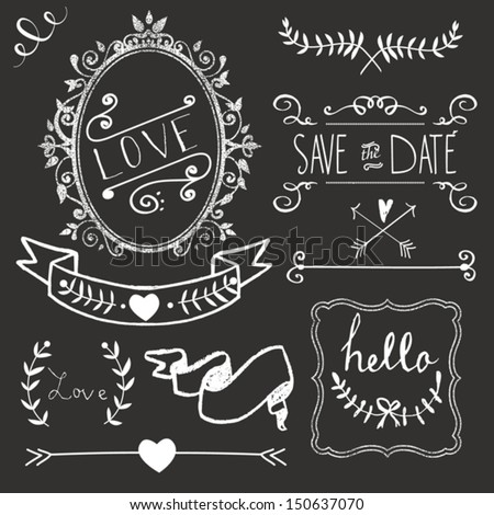 Chalkboard Wedding graphic set, borders, arrows, hearts, laurel, wreaths, ribbons and labels - stock vector