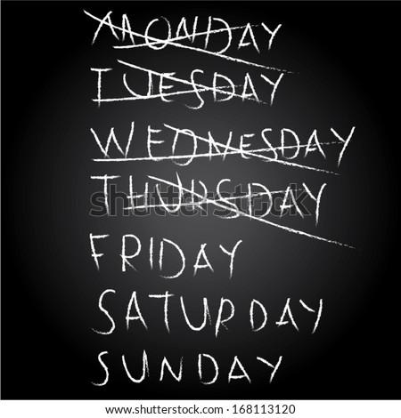 chalkboard weekdays friday. vector illustration - stock vector