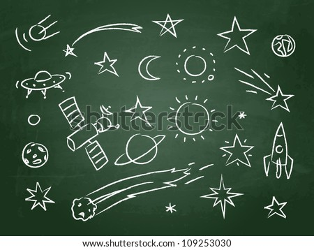 chalkboard with space doodle - stock vector