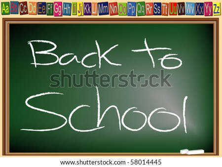 chalkboard with the words Back to School - stock vector