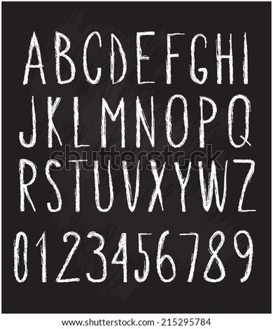 chalked alphabet and numbers