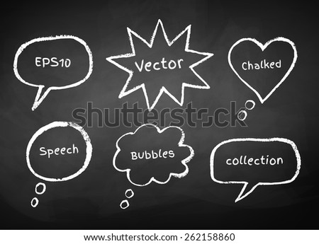 Chalked bubble-talks drawn on  school board background. Vector illustration.