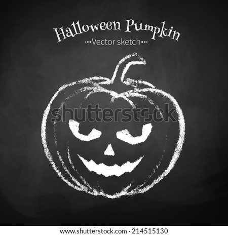 Chalked childlike drawing of Halloween pumpkin. Vector illustration. - stock vector
