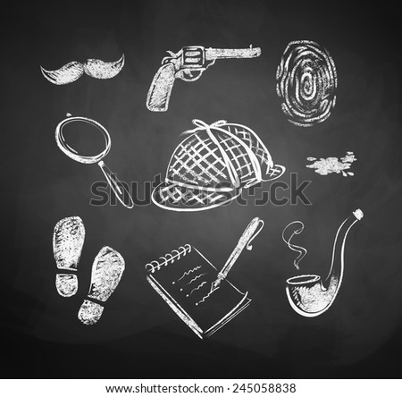 Chalked detective set. Vector illustration. Isolated. - stock vector