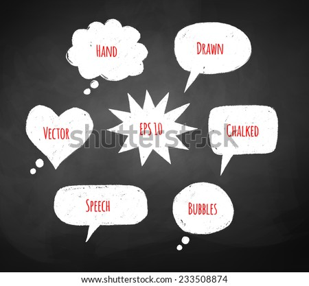 Chalked speech bubbles drawn on school board background.. Vector illustration. Isolated. - stock vector