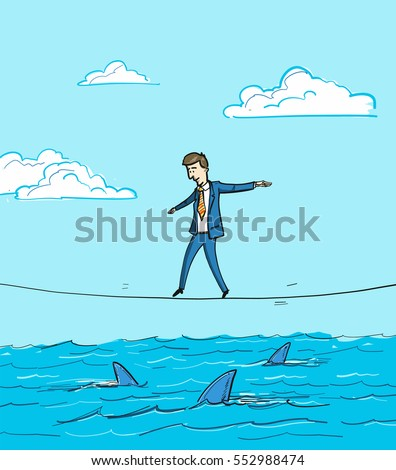 challenge - conceptual vector illustration of businessman balancing on rope over the water with sharks