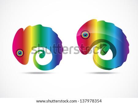 Chameleon business logo - stock vector