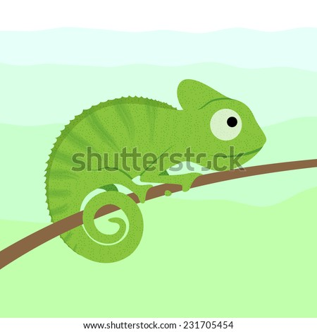 Chameleon cartoon character sitting on tree branch (vector) - stock vector